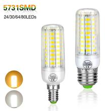E14 E27 Led Light Bulbs Lampada Led Lamp 220V 5731 SMD Chandeliers 24 30 64 80 Leds CR ROHS Corn Bulb Light Radiation Cover(China)