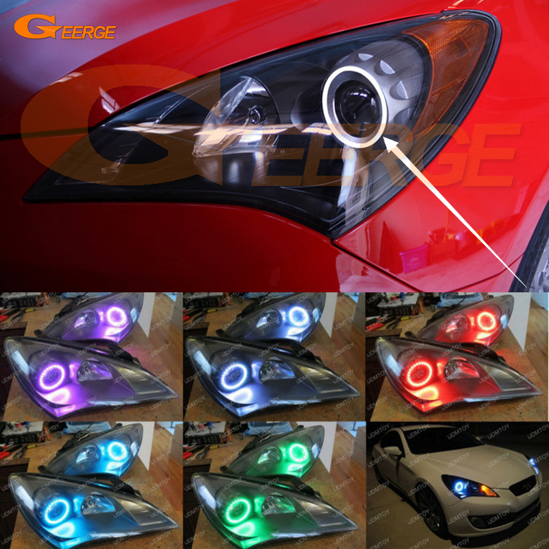 For Hyundai Genesis Coupe 2010 2011 2012 Excellent Multi-Color Ultra bright RGB LED Angel Eyes kit halo rings<br>