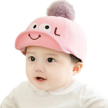 Fashion Baby Hat Cotton Baby Baseball Cap Comfortable Infant Hats Fur Ball Cute Soft Eaves Baseball Hat Baby Boy Beret Girls Hat(China)