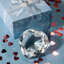 FREE SHIPPING(12pcs/Lot)+Bridal Shower Favors Choice Crystal Collection Heart Design Crystal Paper Weight Wedding Favor(China)