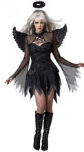 Vocole Halloween Dark Angel Raven Black Fallen Angel Sexy Cosplay Costume Party Fancy Dress With Wings For Adult Women(China)