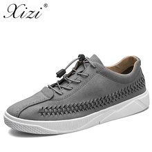 XIZI Brand Men Casual 100% Genuine Leather Shoes Male Lace-Up Handmade White Shoes Real Leather Loafers Mens Moccasins tide shoe(China)