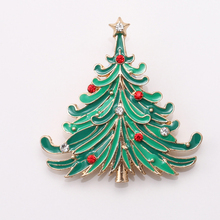 Christmas Tree Gold-color Costume Brooch Cheap Red Rhinestone Christmas Brooches Lot Collar Clip For Scarf Buckle(China)