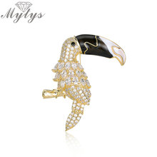 Mytys High Level Cubic Zirconia Brooch Pin Big Mouth Bird Crystal Toucan Animal Brooches for Women Clothes Fashion Item X293(China)