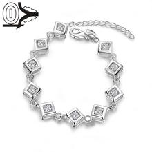 New Design Wholesale Silver Plated Bracelet,Wedding Jewelry Accessories,Fashion White Stone Inner Cubes Bracelets Bangle Gift