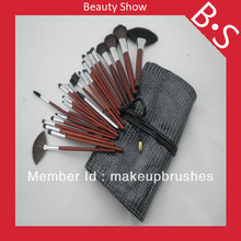 Professional 24pcs Makeup Brush Set/Kit Wholesale Price,Beauty/Best Cosmetic Brush Set,Excellent Leather Bag