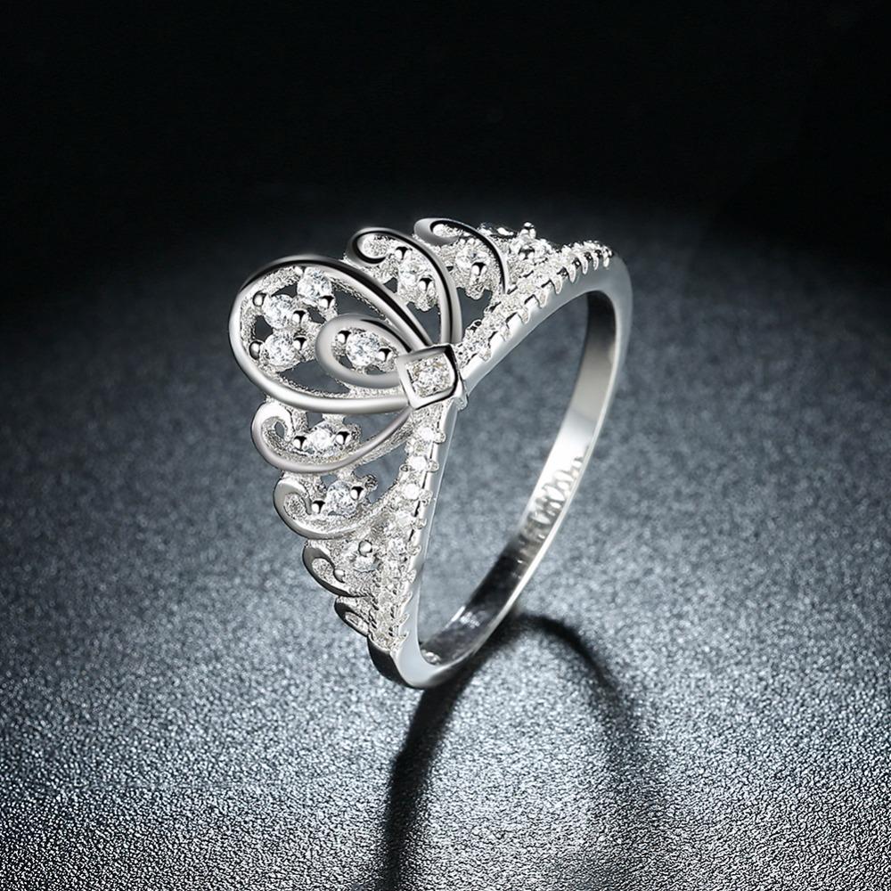 Zircon CZ 925 Sterling Silver Queen's Crown Ring