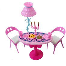 1 set Vintage Table Chairs For Dolls Furniture Dining Sets Toys For Girl Kid For Pink For Barbie Wholesale