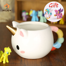Cartoon Unicorn Mug 3D Ceramic Coffee Cup Children Girl Creative Cute Gift Wild Finding Magical Horse Cups Magichome Christmas(China)