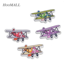 Hoomall 30PCs Multicolor Cute Cartoon Airplane Shape Decorative Buttons 2 Holes Wood Buttons Scrapbooking Sewing DIY 1.95x3.2cm(China)