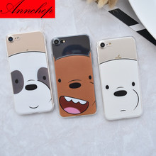 Cartoon Network We are Bears Soft Silicon Ultrathin Case For iphone 6 6s 6plus 5s 5 SE 7 7plus Soft TPU Phone Cover Cute Face