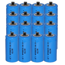 16PCS Sub C SC 1.2V rechargeable battery 2000mah ni-mh nimh cell with welding legs pins tab for vacuum cleaner electric drill