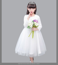 White Flower Girl Petals Dress Pageant Wedding Birthday Party Bridal Formal Dress Children Bridesmaid Toddler Elegant Dress D64(China)