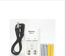 True energy 2pcs Etinesan 3.2v 200mAh 10440 AA LiFePo4 lithium rechargeable battery W/ dummy + 14500 10440 aa aaa charger Toys