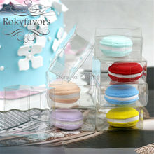 "FREE SHIPPING 50PCS 2"" Clear Plastic PVC Macaron Box for 1 Macarons Party Supplies Bomboniere Favors(China)"