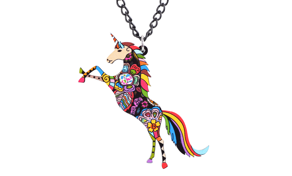 glass silver necklace pendant dp chain heart rainbow unicorn engraved com amazon crystal inch