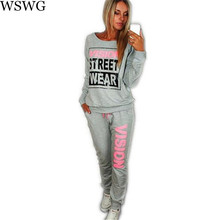 European Street New PiNK Vision Street Wear Print Women's Tracksuits O-Neck Casual Suit Set Suits For Women 60240