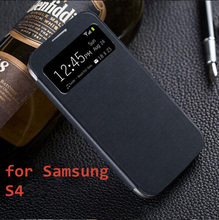 S4 Original Flip Leather case For Samsung Galaxy S4 I9500 9500 View Window Smart Sleep phone accessories Battery Housing Cover