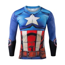 Free shipping, 2015 new mewest heat 2017 and 3 d T-shirt t-shirts male fitness clothes dry quickly captain America