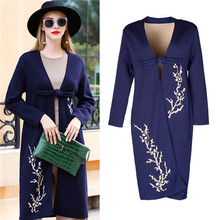 Vintage Winter fashion Women's Sweater Cardigan Purple Embroidered long sleeve knitting tench Coat high quality outerwear free(China)