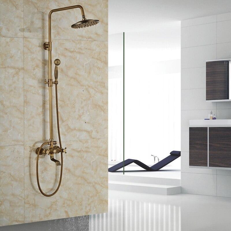 Luxury Wall Mount 8 Rain Showerhead Bathroom Shower Mixer Taps Bath Shower Faucet with Handshower<br><br>Aliexpress