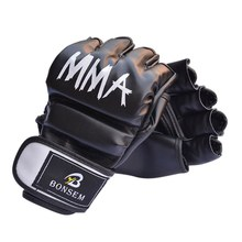 Men Women PU Half-glove Kick Boxing Gloves Black and Red Muay Thai MMA Fright Boxing Training Gym Sport Gloves