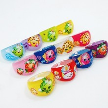Qinz Jewelry shop Wholesale Lots Fashion 50pcs Mix Lovely Cartoon shopkins 1 toy Kids Ring Girls Rings event party supplies