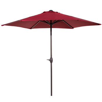 Abba Patio 9 Ft Market Outdoor Aluminum Table Patio Umbrella with Push Button Tilt and Crank Red