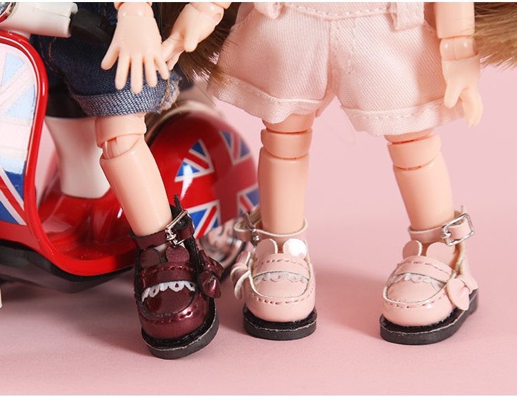 New OB11 Leather shoes with bear ear Doll Leather shoes OB11 bear ear Shoes  (suitable for Ob11,obitsu11,Middle Blyth,cu-poche)
