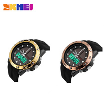 Solar power dual time men watch limited edition LED Digital solar QuartzWatch dual display sport watches Casual Military Watch(China)