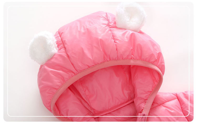 LAKAKS 6-24M Down Cotton Baby Coat Cute Bear Jacket For Little Girl Autumn Winter Clothes Hooded Toddler Clothing Kids Outerwear