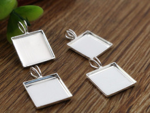 20pcs 12mm Inner Size Silver Plated Brass Material Simple Square Style Cabochon Base Cameo Setting Charms Pendant Tray (A2-43)