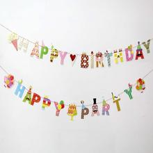 Birthday Party Banners Cartoon HAPPY BIRTHDAY Letter Garland  Children Birthday Party Decoration kids Colorful Garland K3