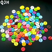 Wholesale 200pcs Multi 9mm Round Resin Mini Tiny Buttons Craft Sewing Accessories Embellishments BUTTON Scrapbooking DIY Tools(China)