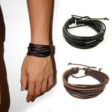 2pc/lot Handmade Punk Weave Vintaage Cuff Genuine Men Leather Bracelets Women Jewelry Accessories