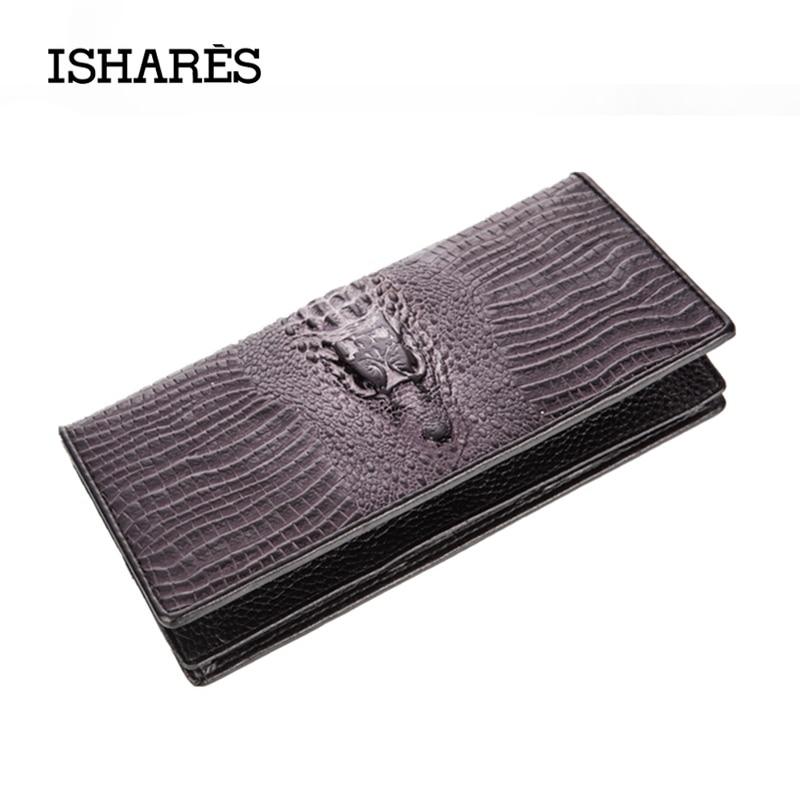 Genuine Leather Men Crocodile Plant Wallets Business Brand Card Holder Coin Purse Mens Long Fancy Black Brown ISPK6006-C<br><br>Aliexpress
