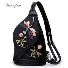 VZ embroidery women backpack mochilas nylon ladie's casual bags floral backpacks black bolsas femininas over shoulder back pack