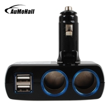 AuMoHall 12V-24V Cigarette Lighter Adapter USB Car Chargers Dual USB Car Charger Power Adapter(China)