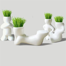 1 Piece Creative Gift Plant Hair man Plant Bonsai Grass Doll Office Mini Plant Fantastic Home Decor pot+seeds 4 design(China)