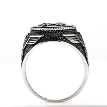Hot sale 925 Sterling Silver Jewelry 925 punk style Silver Ring black Men Engrave jewelry LG-0621