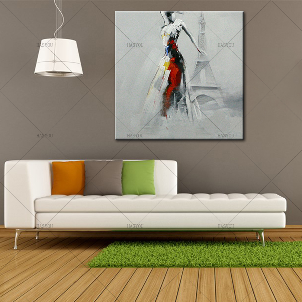 Pop-Art-Sexy-Lady-Dancing-in-Front-of-Eiffel-Tower-Oil-Painting-Modern-Knife-Painted-Painting (1)