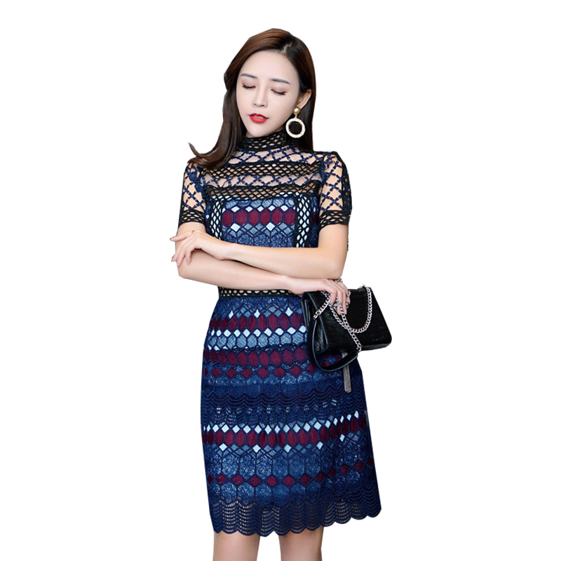 Geometric Plaid Hollow Out Mini Dress 2018 runway Fashion Summer Women  Short Sleeve Stand Collar color 73a0170c7db0