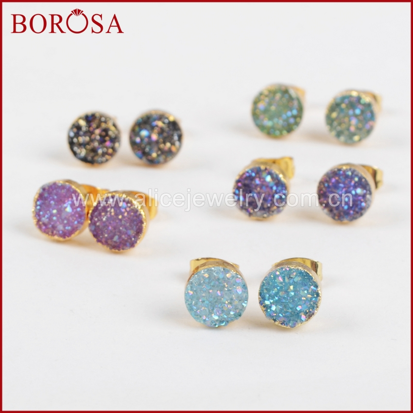BOROSA Mix Color 8mm Round Drusy Stud Earring for Women, Wholesale Gold Color Dyed Blue & Titanium Druzy Stud Earrings G1221