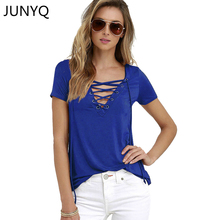 2017 Summer Fashion Women T-shirts Short Sleeve Sexy Deep V Neck Bandage Shirts Women Lace Up Tops Tees T Shirt S-5XL