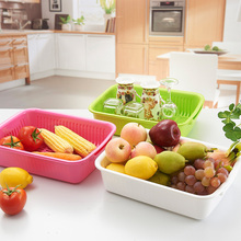 Jinli drain basket of fruits and vegetables double layer plastic drip basket vegetables basket fruit plate