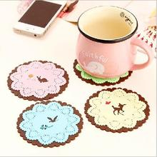Cute Forest animal Silicone placemats Carving lace Table Decoration & Accessories Adiabatic cup pad JJ0091