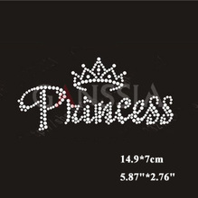 "10pcs/lot Fashion""princess"" with crown hotfix rhinestone Heat transfer design iron on rhinestone motif(ss-1561)"