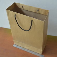 40*30*12 10pcs/lot kraft brown craft paper bag no print factory sale with cotton handle paper gift bags
