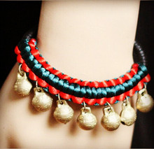 Unique Original Pure Handmade Hing Quality Ethnic Jewelry Hanging Jingly Copper Bells Chinese Silk String Bracelet