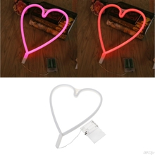 LED Loving Heart Neon Sign Light Night Lamp With Battery Box Wedding Xmas Party Decor New Drop ship(China)